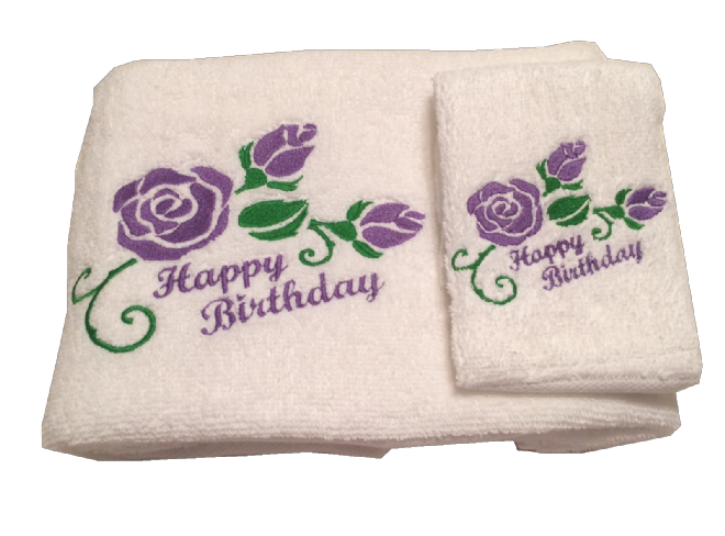 Happy Birthday Hand Towel and Flannel Set